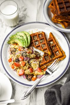 "Sweet Potato ""Buttermilk"" Waffles   Veggie Scramble (Vegan GF) – Sincerely Tori Fast Healthy Meals, Easy Healthy Recipes, Whole Food Recipes, Vegetarian Recipes, Healthy Eating, Healthy Food, Brunch Recipes, Breakfast Recipes, Buttermilk Waffles"