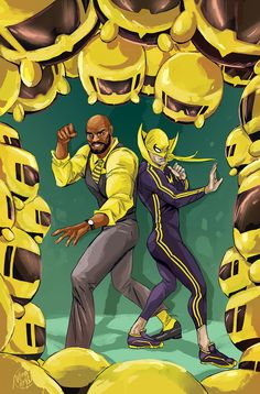 Power Man and Iron Fist Issue Tsum Tsum Variant Comic Book Characters, Marvel Characters, Comic Books Art, Comic Art, Book Art, Marvel Comics Art, Marvel Heroes, Marvel Defenders, Luke Cage Iron Fist