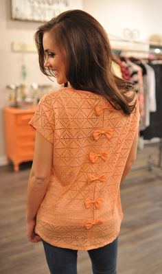 Dottie Couture Boutique - Eyelet Bow Back Top- Peach, $32.00 (http://www.dottiecouture.com/eyelet-bow-back-top-peach/)
