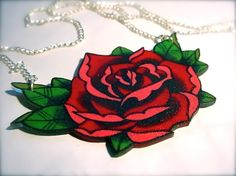 big vintage tattoo style red and pink rose necklace by wickedminky, $21.00