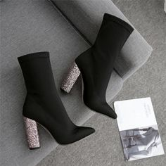 Fetish Boots Bling Block Heels Bling Ankle Boots Stretch Chunky ShoesUpper Material: Stretch Fabric Boot Height: Ankle Closure Type: Slip-On Pattern Type: So High Heels Glitter, Glitter Boots, Black High Heels, Very High Heels, Red High, Ankle Boots, High Heel Boots, Heeled Boots, Shoe Boots