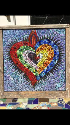 Sacred heart, made on another old window. Mosaic