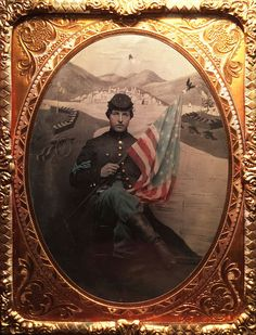Breathtaking Tinted Civil War Color Sergeant & Maine Backdrop ¼ Plate Tintype ! in Collectibles, Militaria, Civil War (1861-65), Original Period Items, Photographs | eBay