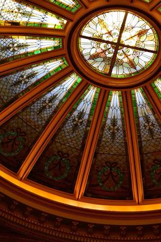 Stained glass dome at the Anderson Center for the Arts