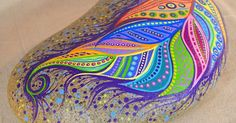 Paint Rock-Feather Doodle Zentangle by LisaFrick on Etsy | Stones | Pinterest | Zentangle, Doodles and Beautiful Rocks