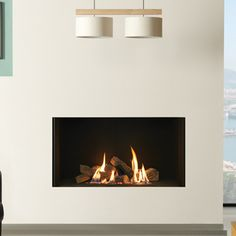 Balanced Flue Hole-in-the-Wall Gas Fires Energy Efficient Fireplaces Inset Fireplace, Gas Fireplace Logs, Fireplace Wall, Living Room With Fireplace, Fireplaces, Log Effect Gas Fires, Wall Gas Fires, Contemporary Gas Fires, Contemporary Gas Fireplace