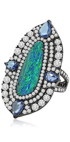 Gorgeous Ring No. 17-Opal Doublet Ring by Sutra. A dramatic Ring in a resplendant Blue-green freckled Opal Doublet center, with Rose cut Blue Sapphires, accented with full cut Diamonds  | Haute Tramp