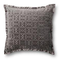 Fieldcrest� Luxury Velvet Decorative Pillow - Gray (Euro)