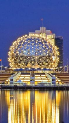 "Science World glows at night in ""Vancouver skyline, British Columbia, Canada"" Ottawa, Vancouver British Columbia, Ontario, Amazing Buildings, Amazing Architecture, Places Around The World, Oh The Places You'll Go, North America Geography, Torre Cn"