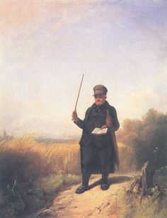 Carl Spitzweg Der singende Dorfpfarrer mit Brevier und Regenschirm beim Spaziergang durch die reifen Felder