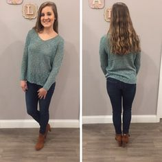 The color of this sweater is so unique! - $39  #fall #fallfashion #obsessed #aldm #apricotlanedesmoines #apricotlane #valleywestmall #boutique #shoplocal #musthave #apricotlaneboutique #shopaldm #ootd #sweaterweather