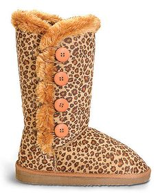 This Tan Leopard Four-Button Boot is perfect! #zulilyfinds