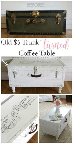 New Simple DIY Furniture Makeover and Transformation # Furniture # The Furniture - Upcycled Furniture Refurbished Furniture, Repurposed Furniture, Painted Furniture, Vintage Furniture, Diy Furniture Repurpose, Redoing Furniture, Painted Trunk, Repurposed Wood, Cheap Furniture