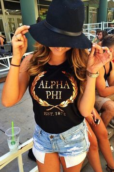 Alpha Phi rose gold foil tank made by 224 Apparel