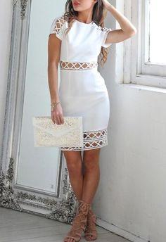 Showpo Lattice Lies Dress in White - 6 (XS) Longer Dresses Simple Dresses, Beautiful Dresses, Casual Dresses, Short Dresses, Fashion Dresses, Vetement Fashion, Dress For You, Homecoming Dresses, Dress Skirt
