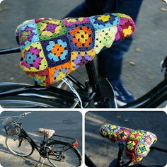 Bike seat cover made out of granny squares.