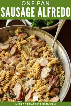 This one pan Sausage Alfredo is ready for dinner in less than 30 minutes. Full of meat and cheese it is a house favorite. Mushrooms optional but oh they are good! #onepot #dinner #easy #fromscratch One Pot Meals, No Cook Meals, Easy Meals, Easy Chicken Recipes, Pasta Recipes, Healthy Dinner Options, Stuffed Mushrooms, Stuffed Peppers, Meat And Cheese