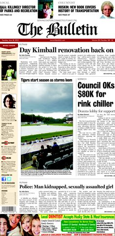 Tuesday, June 18, 2013 - Subscribe to The Bulletin today: http://www.norwichbulletin.com/carousel/x1789233765/ONLY-IN-PRINT-Stories-exclusively-in-today-s-Bulletin #ctnews #newlondoncounty #windhamcounty