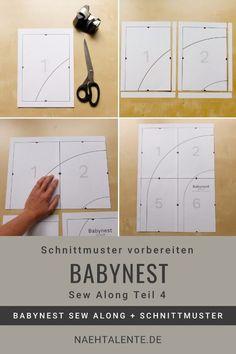 Babynest Sew Along Teil 4: Wir drucken gemeinsam das Schnittmuster aus und fügen es zusammen. Es enthält die Schnitteile für Ober- und Unterseite des Babynestes, den Matratzenbezug, Volumenvlies, Handgriff und die Schnittvorlage für die Schaumstoff-Matratze. Lerne, dein eigenes Babynest zu nähen - Along im Blog. #nähen #babynest #baby #anleitung #nähanleitung #schnittmuster #nähenmachtglücklich #handmade #diy #sewingpattern #nähenisttoll #sew #sewing #isew #sewalong