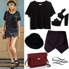 Taylor Swift was spotted arriving at a Studio on Wednesday wearing a crop tee similar to this from Madewell ($35.00), a Missguided Verity Skort ($34.20), the Free People Patton PorkPie Hat (Sold Out), an Oxblood Twist Lock Satchel by The Cambridge Satchel Company ($230.95 – wrong color) and a pair of ASOS Have It Your Way Sandals ($65.40).  http://stealherstyle.net/taylor-swift/page/2/