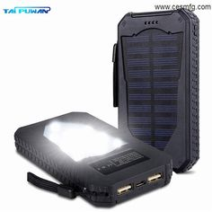 Foreverrise Solar Charger High Capacity Solar Panel Power Bank Portable  Battery Pack Bright LED lights Dual USB Solar Battery Charger for Cell  Phone fcd5882d168b
