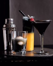 Spooky Halloween Spirits - Martha Stewart Food  Recipes for Drinks: Ghost in the Graveyard Screwed Up Screwdriver Berry Scary Martini