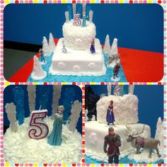 This Disney Frozen themed birthday cake was a huge hit at Isabella's 5th birthday. Bottom: 10in double Square w/Wilton Vanilla Fondant. Top: 8in double round w/Buttercream frosting #2D tip. Disney Frozen figurines, rock candy, frosted sugar cones (trees), edible glitter. #DisneyFrozen #Wilton #BirthdayCake
