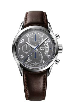 Freelancer 7730-STC-05600 Mens Watch - Freelancer Automatic chronograph Steel on leather strap grey dial | RAYMOND WEIL Genève Luxury Watches