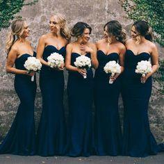 Navy Mermaid Long Bridesmaid Dress