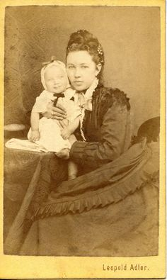A beautiful young Victorian mother and her sweet child, 1870s, Hungary. Photo by Leopold Adler. #Victorian #portraits