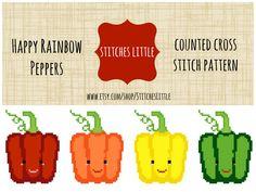 Kawaii Cross Stitch Modern Cross Stitch Happy by StitchesLittle