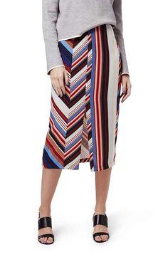 Topshop 'Deckchair' Stripe Split Midi Skirt