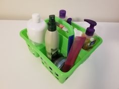 3-compartment plastic caddy: This plastic caddy is where I store health and beauty products that I need on a daily basis. When I'm not using it, I tuck it under the sink and out of sight.