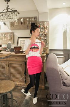 Pink Slim Fitted Pencil Style Korean Fashion Summer Collection Skirt