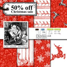 50% OFF SALE: 8 seamless red Christmas Vintage от CatMadePattern