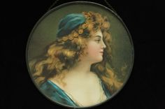 UNUSUAL VINTAGE VICTORIAN FLUE COVER BEAUTIFUL WOMAN BLUE CAP & COINS IN HAIR