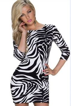 Cheap Sexy V Back Zebra Print Dress online - All Products afd4a949a