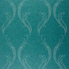 Casadeco Ornement Wallpaper - EXC 25256217 (2.260 UYU) ❤ liked on Polyvore featuring turquoise