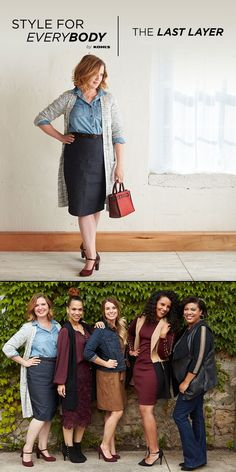 Don't sacrifice cute for cozy—find an outfit that does both. The go-to pencil-skirt-and-button-up combination gets a fall makeover with the addition of a long and lean cardigan. Featured product includes: SONOMA Goods for Life cardigan, ELLE jean pencil skirt, Croft & Barrow Mary Jane heels and REED handbag. Find fall fashion for everybody (and every body) at Kohl's. #StyleForEverybody