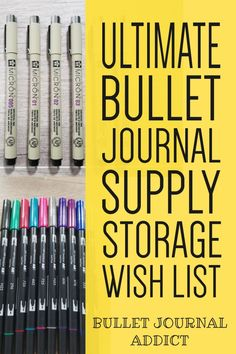 Best Storage For Bullet Journal Supplies - Store Your Bullet Journal Supplies - Bullet Journal Supply Storage #bulletjournal #bujolove #bujosupplies #bulletjournalsupplies #craftorganization #bujoorganization #bulletjournalorganization #bulletjournalideas #bujoideas Bullet Journal Font, Journal Fonts, Bullet Journal Themes, Bullet Journal Inspiration, Journal Ideas, Journaling, Easy Doodles, Types Of Journals, New Pen