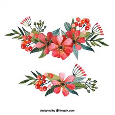 Red corsages in hand painted style Free . Watercolor Flower Vector, Vector Flowers, Watercolor Cards, Red Corsages, Personalized Stickers, Flower Doodles, Red Flowers, Vector Free, Hand Painted