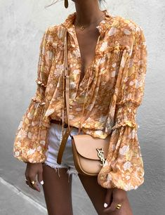 High Collar Blouse, Long Blouse, Long Sleeve Sweater, Long Sleeve Shirts, Yves Saint Laurent, Summer Wraps, Sweater Fashion, Fashion Prints, Blouses For Women