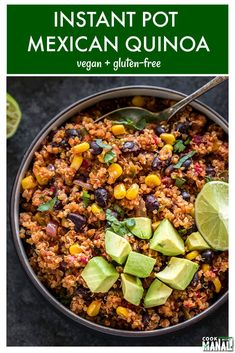 Mexican Quinoa flavored with cumin, smoked paprika and chili powder. This easy one pot meal is made in the Instant Pot and is the perfect meal for those busy days. Vegan & gluten-free. #mexican #instantpot #vegan #glutenfree