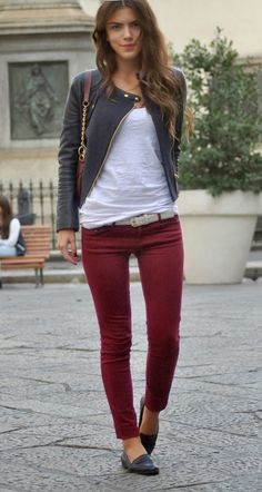 Perfect Fall Street Fashion Maroon Skinny, White Blouse And Jacket