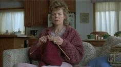 Fargo - Jean Lundegaard, played by Kristin Rudrud, sits knitting in her pajamas watching TV, moments before her life gets turned upside down ...