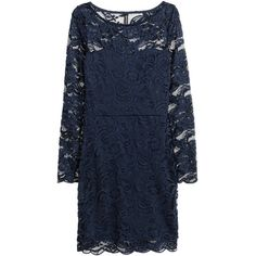 H&M Lace dress (€23) ❤ liked on Polyvore featuring dresses, dark blue, long sleeve fitted dress, blue dress, long sleeve lace dress, long-sleeve lace dress and dark blue cocktail dress