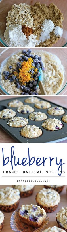 Blueberry Oatmeal Muffins. I used lemon zest instead of orange and one container of Greek yogurt, just 7 ounces instead of one cup. I also used frozen blueberries and probably could have used less.   These were fantastic! Moist, very flavorful, filling and not overly sweet. This recipe is a keeper.