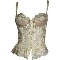 Moschino Couture Brand New Vintage Sexy Ivory Lace Bustier Corset Top ($450) ❤ liked on Polyvore featuring tops, corsets, shirts, blouses, lace up shirt, sexy tops, brown shirt, bustier tops and lace top