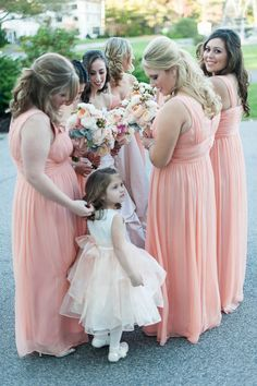Peach and Blush Long Bridesmaids Gowns| Maxi Dress | Kristen Jane Photography:: See more on ConfettiDaydreams.com