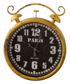 Loving this Yellow Distressed 'Paris' Wall Clock on #zulily! #zulilyfinds